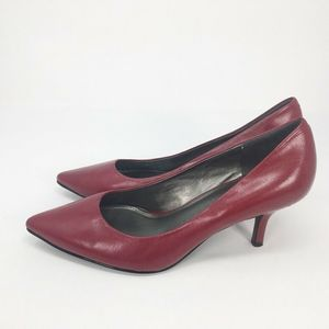 Maripe Women Classic Pump Shoes Red Kitten Heels 7